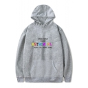 GREETINGS Letter Printed Long Sleeve Hoodie