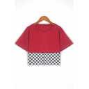 Contrast Check Print Round Neck Short Sleeve Cropped T-Shirt