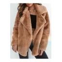 Faux Fur Notched Lapel Collar Plain Long Sleeve Open Front Winter Coat