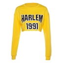 HARLEM Letter Printed Round Neck Long Sleeve Cropped Sweatshirt