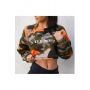 Letter Camouflage Printed Round Neck Long Sleeve Cropped Sweatshirt