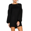 Plain Round Neck Lantern Sleeve Mini A-Line Dress