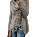V Neck Long Sleeve Plain Tassel Detail Asymmetric Hem Casual Sweater
