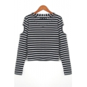 Hollow Out V Neck Long Sleeve Striped Leisure Tee