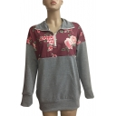 Contrast Floral Panel Long Sleeve Lapel Collar Half-Zip Sweatshirt