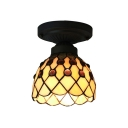 6 Inch Mini Semi Flush Mount Ceiling Light in Tiffany Stained Glass Style