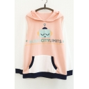 Letter Robot Print Color Block Long Sleeve Casual Hoodie