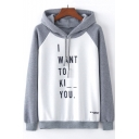 I WANT TO Letter Color Block Raglan Long Sleeve Loose Hoodie