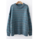 Chic Colorful Striped Round Neck Long Sleeve Sweater