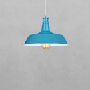 Simple Style Blue Finish Ceiling Pendant Lamp with Inner White Barn Shade for Restaurant Book Store