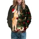 Lovely Cat Christmas Tree Printed Long Sleeve Hoodie