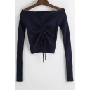 Drawstring Front Off The Shoulder Long Sleeve Ribbed Crop  Sweater