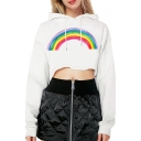 Rainbow Printed Chic Long Sleeve Crop Hoodie