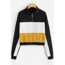Zipper Front High Neck Color Block Long Sleeve Casual Sweatshirt