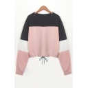 Chic Drawstring Waist Color Block Round Neck Long Sleeve Sweatshirt