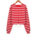 Round Neck Striped Printed Long Sleeve Drawstring Waist Cropped Sweatshirt