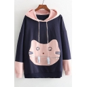Lovely Color Block Cat Pattern Pocket Front Long Sleeve Loose Hoodie