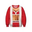 3D Color Block Woman's Body Printed Round Neck Long Sleeve Sweatshirt