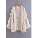 Collarless Plain Long Sleeve Tassel Embellished Open Front Knit Cardigan