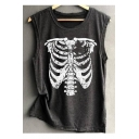 Skeleton Printed Round Neck Sleeveless Tank