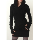 Long Sleeve Plain Slim Mini Hooded Dress