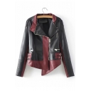 Color Block Lapel Collar Long Sleeve Offset Zip Closure Asymmetric Hem Cropped Leather Jacket