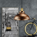1-Light Antique Copper Dome Shade Hanging Light with Gold Inner Side for Restaurant in Retro Style