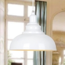 Industrial Pendant Light with 15.75''W Metal Shade in White