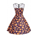 Pumpkin Printed Mesh Insert Round Neck Sleeveless Midi A-Line Dress