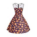 Pumpkin Printed Mesh Insert Round Neck Sleeveless Midi A-Line Dress