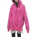 Bear's Ear Hood Layered Patchwork Hem Long Sleeve Tunic Hoodie