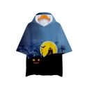 Halloween Landscape Printed Short Sleeve Hooded T-Shirt