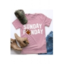 SUNDAY Letter Rugby Printed Round Neck Short Sleeve T-Shirt