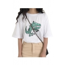 Lovely Dinosaur Embroidered Round Neck Short Sleeve T-Shirt