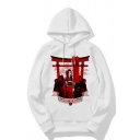 Cool Letter Character Print Long Sleeve Oversized Hoodie