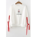 LOVE IS POSSESSION Letter Bottle Embroidered Straps Embellished Long Sleeve Round Neck Sweatshirt