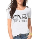 Food Letter Printed Round Neck Short Sleeve Graphic Tee