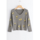 Floral Embroidered V Neck 3/4 Length Sleeve Cropped Sweater