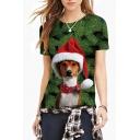 Christmas Tree Dog Printed Round Neck Short Sleeve T-Shirt