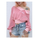 Letter Embroidered One Shoulder Long Sleeve Contrast Piping Cropped Sweatshirt
