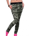 Drawstring Waist Camouflage Printed Button Detail Skinny Pants