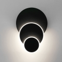 Designer Style Black Metal 3 Tiers Round/Square Led Wall Light 13.78