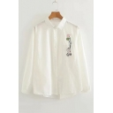 Cat Fish Balloon Embroidered Pocket Lapel Collar Button Placket Leisure Shirt