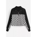Contrast Plaid Panel Long Sleeve Lapel Collar Half-Zip Cropped Sweatshirt