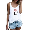 Cat Heart Print Round Neck Sleeveless Tank