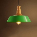 Retro Style Industrial 1 Light Metal Shade Pendant Lighting Fixture in Green Finish