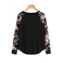 Round Neck Contrast Floral Raglan Sleeve Casual Sweatshirt