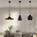 Simple Style Matte Black Finish 1 Light Hanging Light Fixture with Copper Lamp Socket 3 Designs for Choice