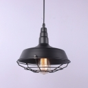 Wire Caged Industrial 1 Light Hanging Light Fixture in Satin Black Finish for Restaurant&Cafe&Bar 9.84