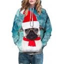 Cute Christmas Series Glasses Dog Printed Long Sleeve Hoodie
